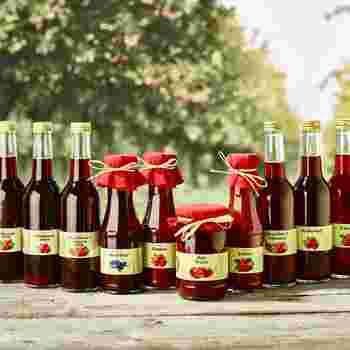 Verschiedene selbstgemachte Säfte in Weinfl